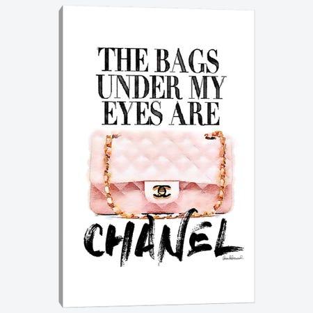 Bags Under My Eyes Pink Bag Canvas Print #GRE135} by Amanda Greenwood Canvas Wall Art