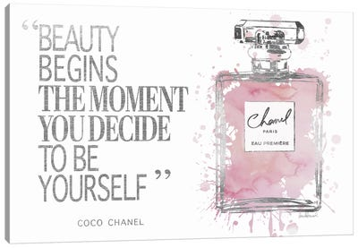 Beauty Begins Perfume Bottle, Silver & Muted Pink Canvas Art Print