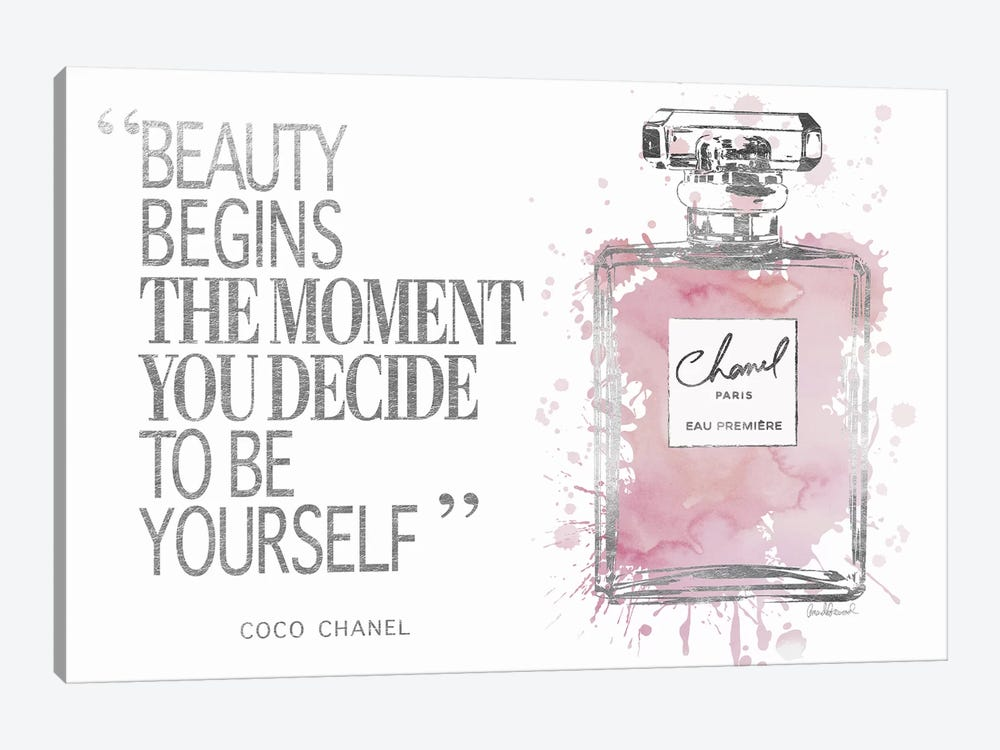 Beauty Begins Perfume Bottle, Silver & Muted Pink by Amanda Greenwood 1-piece Art Print