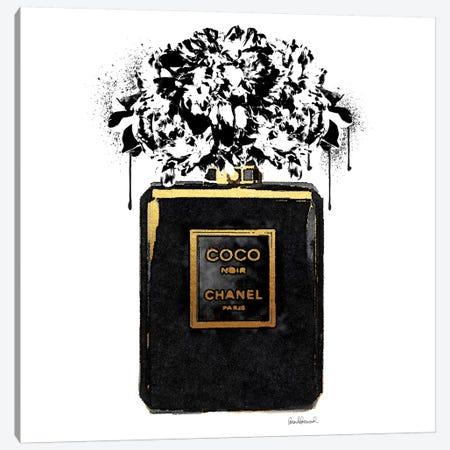 Black Flower Drip III Canvas Print #GRE139} by Amanda Greenwood Art Print