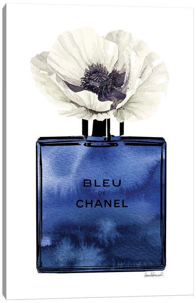 Bleu White Poppy Canvas Art Print