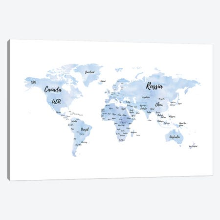 Blue World Map With Countries Canvas Print #GRE144} by Amanda Greenwood Canvas Art Print