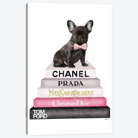 Bookstack Grey Pink White Black & French Bulldog Canvas Print #GRE145} by Amanda Greenwood Canvas Print