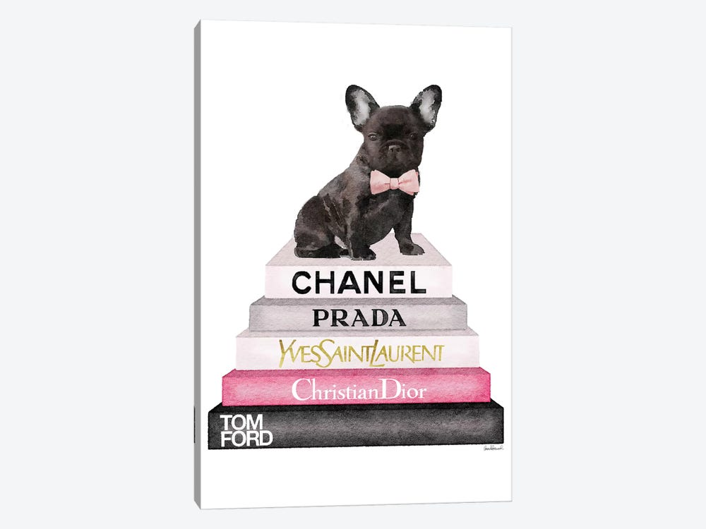 Bookstack Grey Pink White Black & French Bulldog by Amanda Greenwood 1-piece Art Print