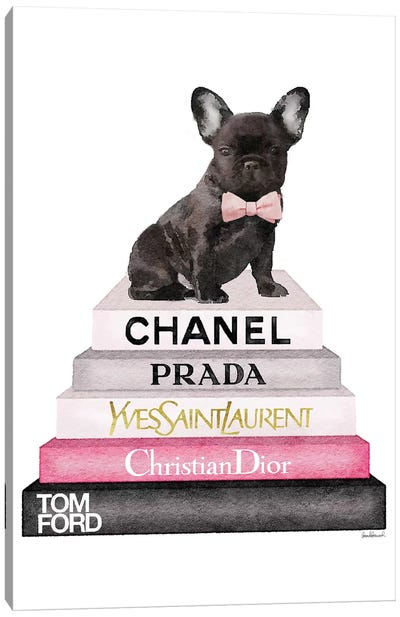 Bookstack Grey Pink White Black & French Bulldog Canvas Art Print