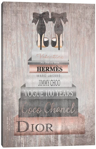 Bookstack Metallic Rose Gold Canvas Art Print