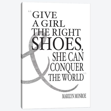 Give A Girl The Right Shoes, She Can Conquer The World Canvas Print #GRE14} by Amanda Greenwood Canvas Artwork