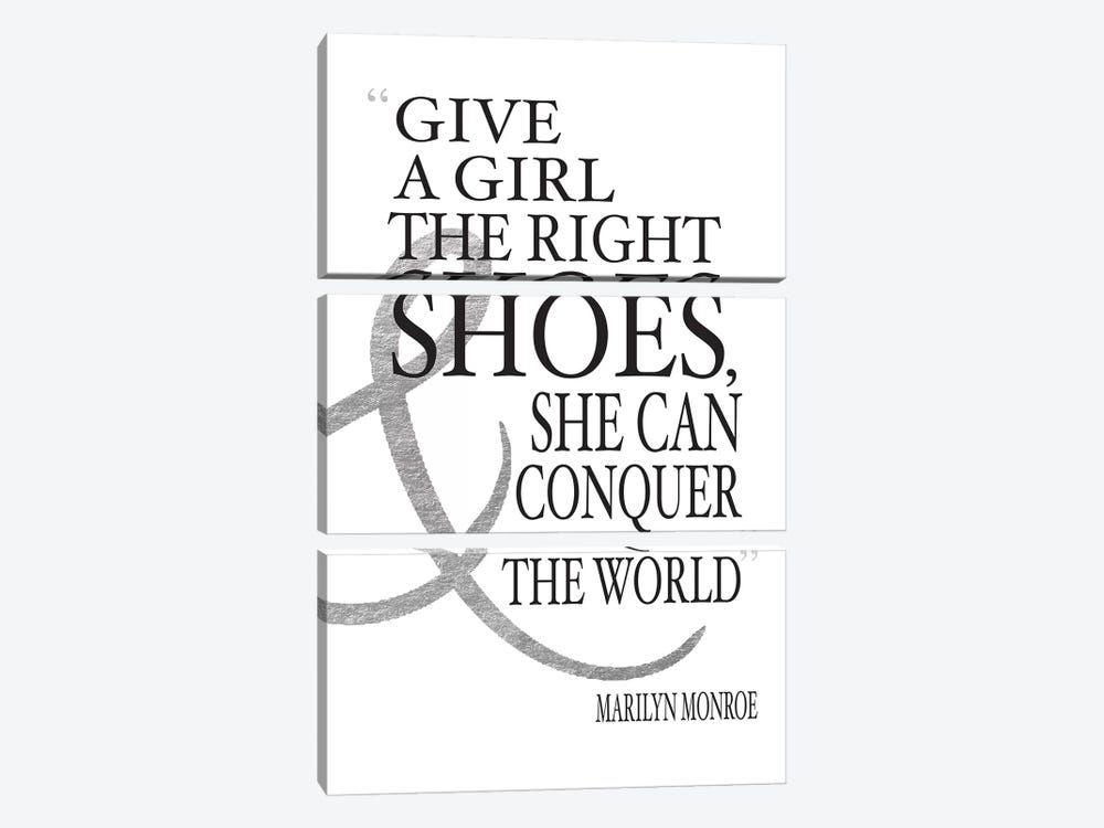 Give A Girl The Right Shoes, She Can Conquer The World by Amanda Greenwood 3-piece Canvas Wall Art