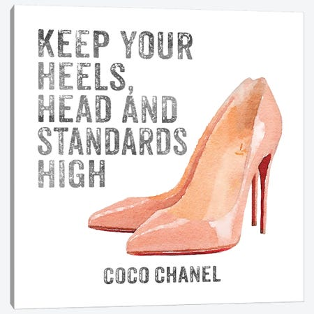 Keep Your Heels, Head & Standards High I Canvas Print #GRE15} by Amanda Greenwood Canvas Wall Art