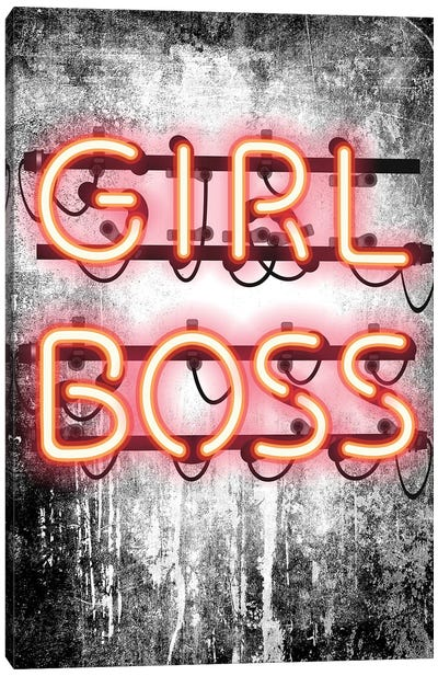Girl Boss Neon Sign Canvas Art Print