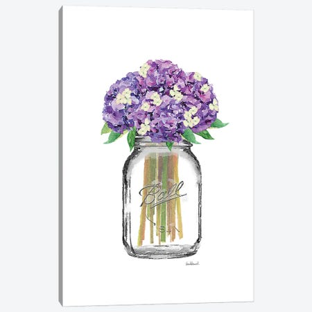 Glass Jar With Purple & Yellow Hydrangeas Canvas Print #GRE161} by Amanda Greenwood Canvas Artwork