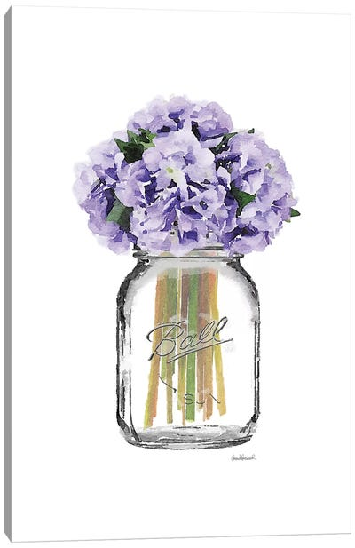 Glass Jar With Purple Hydrangeas Canvas Art Print