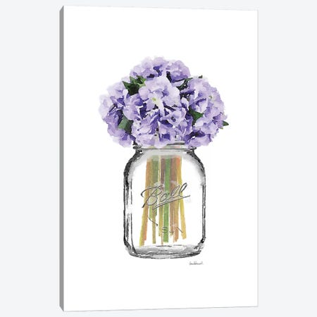 Glass Jar With Purple Hydrangeas Canvas Print #GRE162} by Amanda Greenwood Canvas Artwork