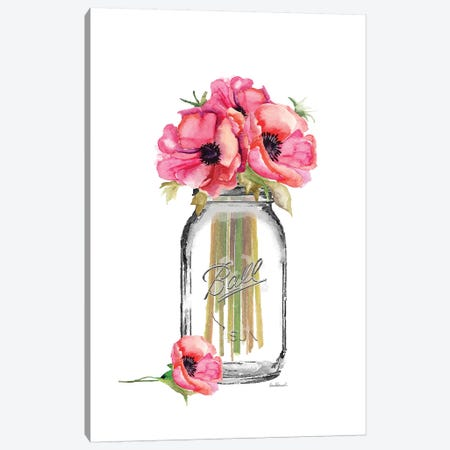 Glass Jar, Tall With Red Poppies Canvas Print #GRE163} by Amanda Greenwood Canvas Wall Art
