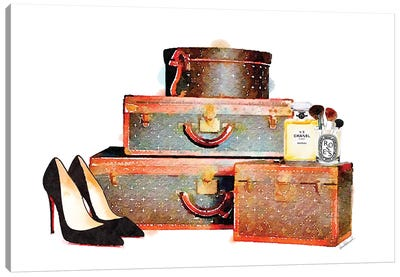 Luggage Set & Shoes Canvas Art Print