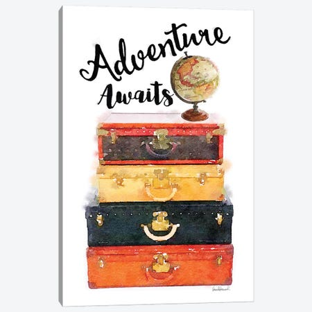 Luggage Stack Adventure Awaits Canvas Print #GRE174} by Amanda Greenwood Canvas Art