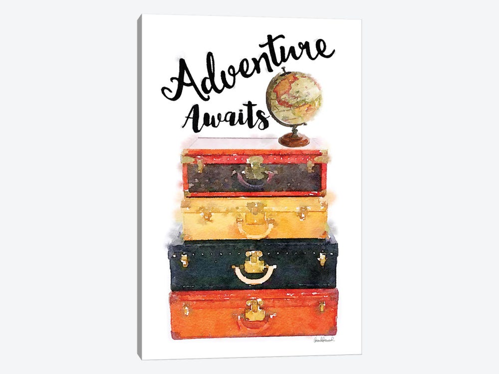 Luggage Stack Adventure Awaits by Amanda Greenwood 1-piece Canvas Art Print