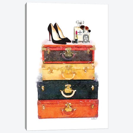 Luggage Stack Shoes Makeup Station Canvas Print #GRE175} by Amanda Greenwood Canvas Artwork