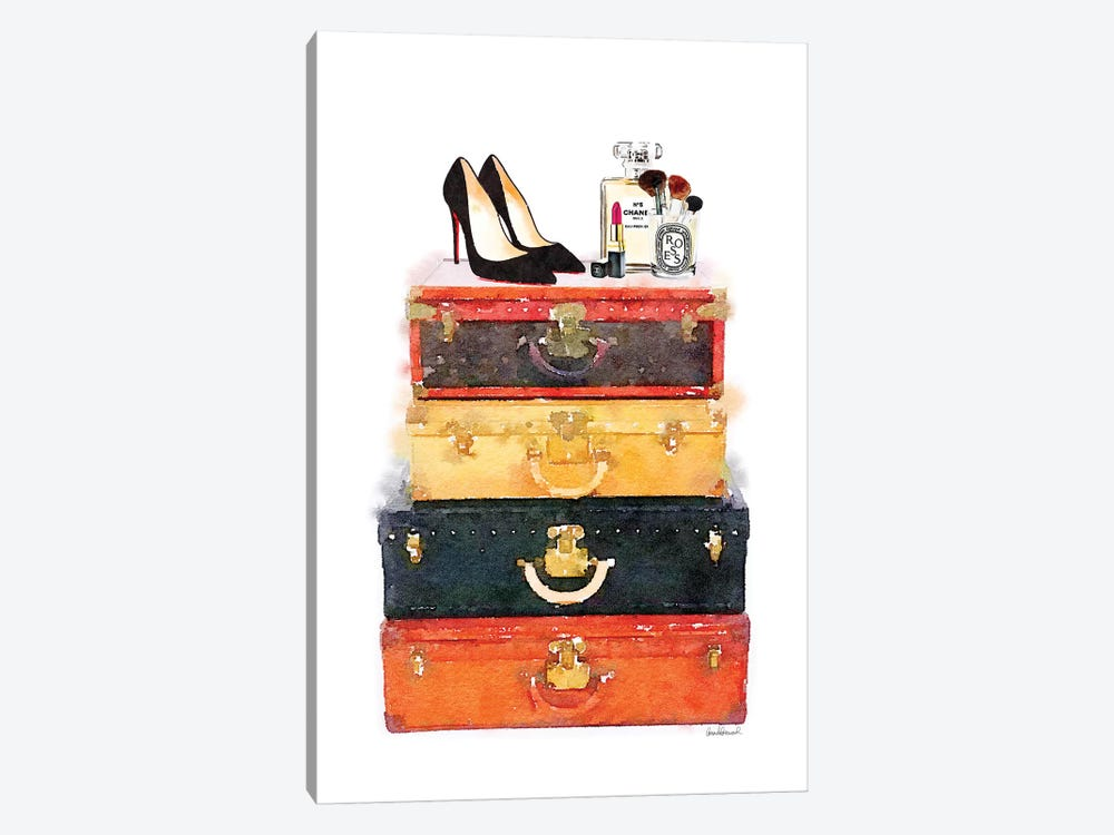 Luggage Stack Shoes Makeup Station by Amanda Greenwood 1-piece Canvas Artwork