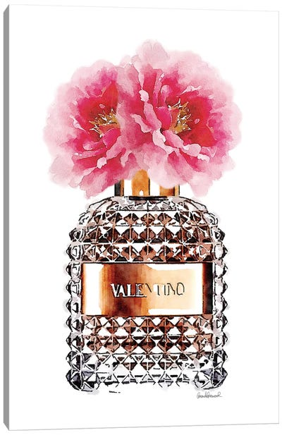 Perfume Bottle & Pink Peony Canvas Art Print