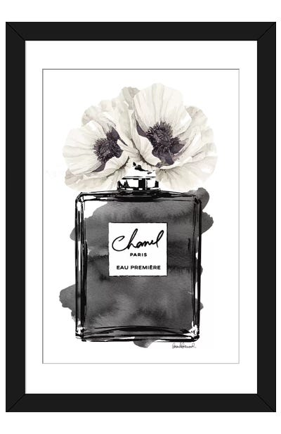 Perfume Bottle, Black With Grey & White Poppy Framed Art Print