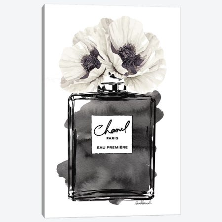 Perfume Bottle, Black With Grey & White Poppy Canvas Print #GRE179} Art Print