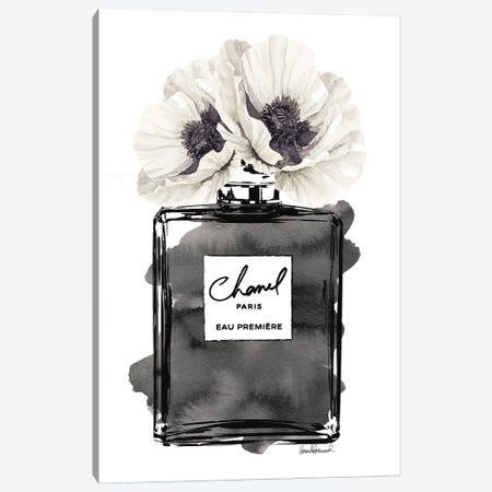 Perfume Bottle, Black With Grey & White Poppy Canvas Print #GRE179} by Amanda Greenwood Art Print