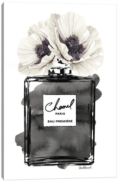 Perfume Bottle, Black With Grey & White Poppy Canvas Art Print