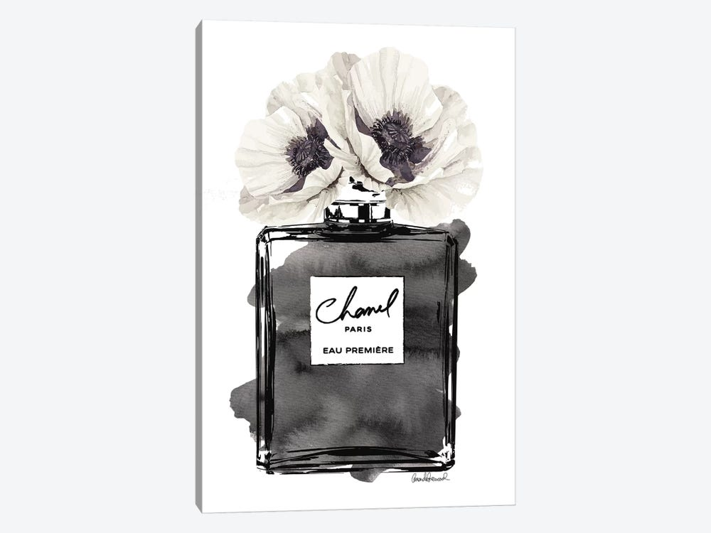 Perfume Bottle, Black With Grey & White Poppy by Amanda Greenwood 1-piece Canvas Artwork