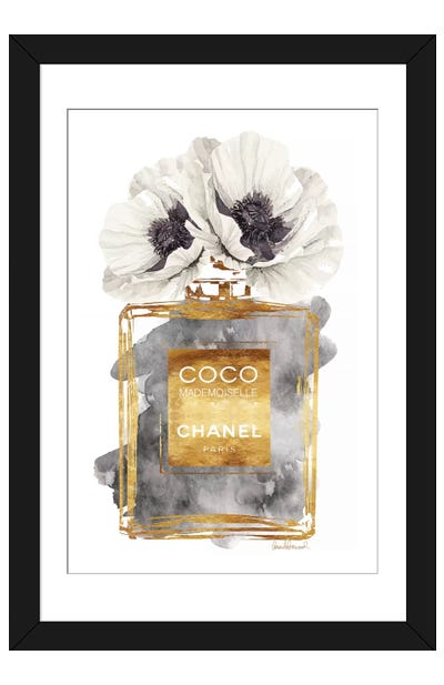 Perfume Bottle, Dark Gold With Dark Grey & White Poppy Framed Art Print