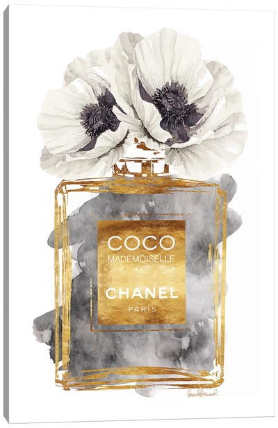 Perfume Bottle, Dark Gold With Dark Grey & White Poppy Canvas Art Print