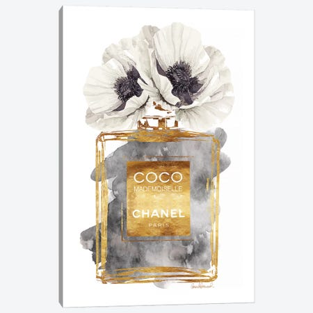 Perfume Bottle, Dark Gold With Dark Grey & White Poppy Canvas Print #GRE180} Canvas Art