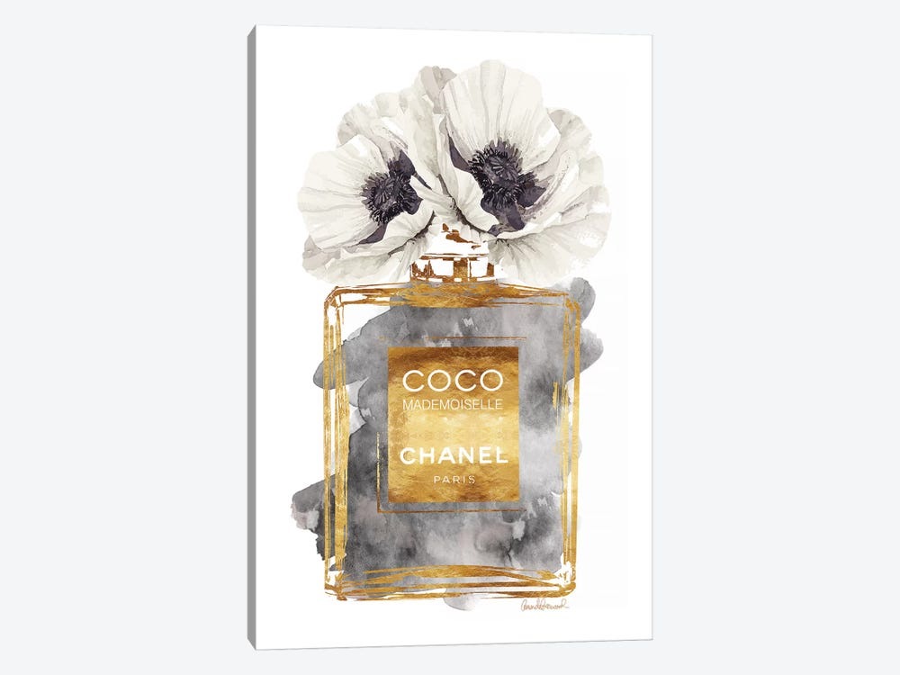 Perfume Bottle, Dark Gold With Dark Grey & White Poppy by Amanda Greenwood 1-piece Canvas Art