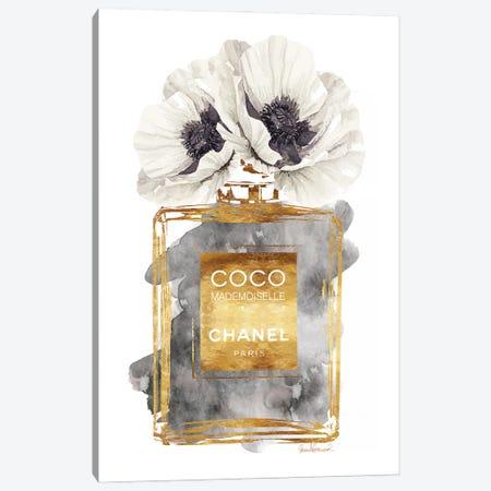 Perfume Bottle, Dark Gold With Dark Grey & White Poppy Canvas Print #GRE180} by Amanda Greenwood Canvas Art