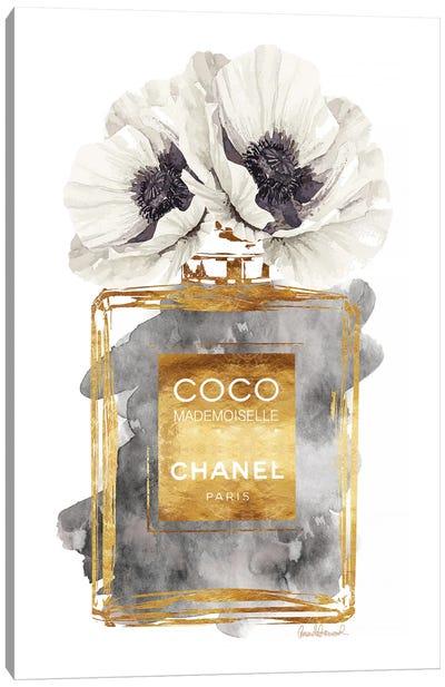 Perfume Bottle, Dark Gold With Dark Grey & White Poppy Canvas Art Print