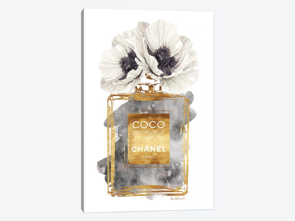 Perfume Bottle, Dark Gold With Dark Grey & White Poppy by Amanda Greenwood 1-piece Canvas Art