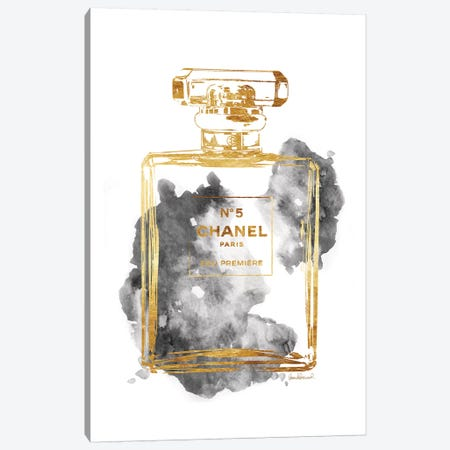 Perfume Bottle, Gold & Grey Canvas Print #GRE181} by Amanda Greenwood Canvas Artwork