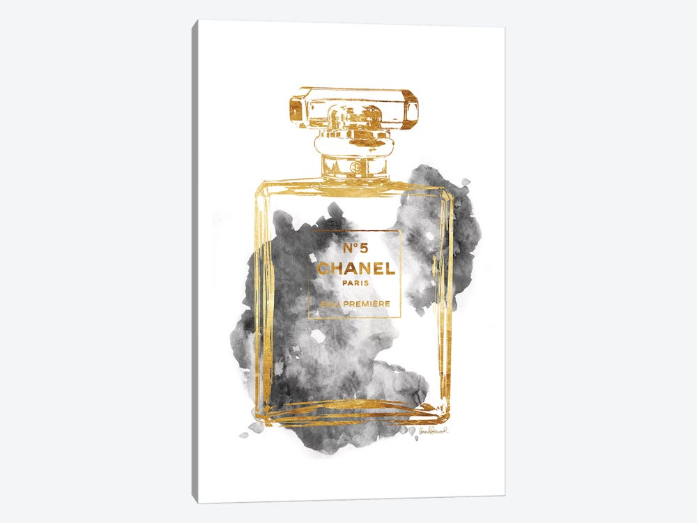 Perfume Bottle, Gold & Grey by Amanda Greenwood 1-piece Canvas Print