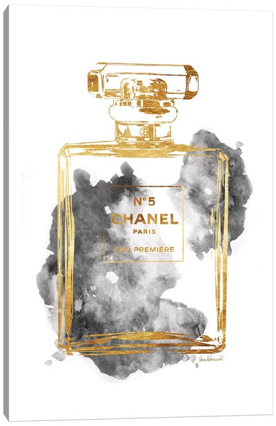 Perfume Bottle, Gold & Grey Canvas Art Print