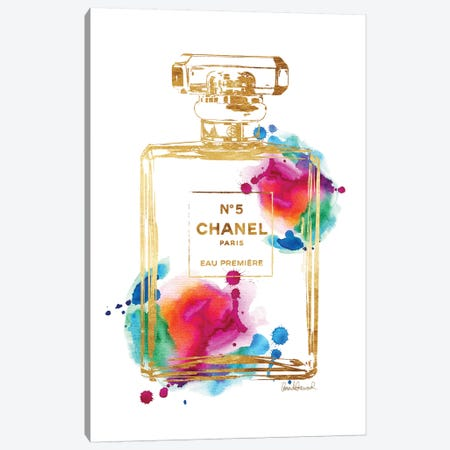 Perfume Bottle, Gold & Rainbow Canvas Print #GRE182} by Amanda Greenwood Canvas Art