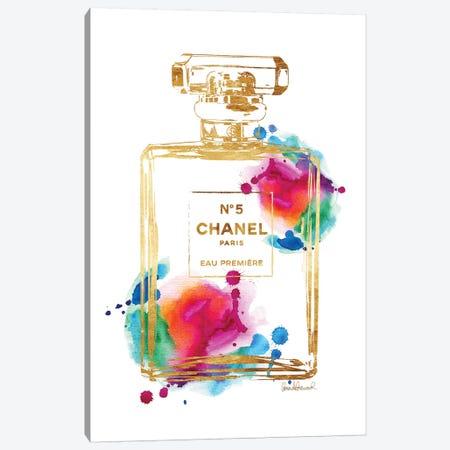 Perfume Bottle, Gold & Rainbow Canvas Print #GRE182} by Amanda Greenwood Canvas Art