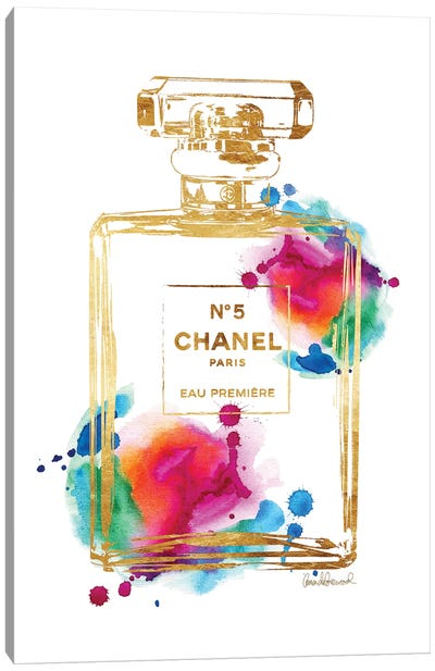 Perfume Bottle, Gold & Rainbow Canvas Art Print