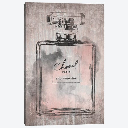 Perfume Bottle, Pink Grey Metallic Rose Gold Canvas Print #GRE183} by Amanda Greenwood Canvas Artwork