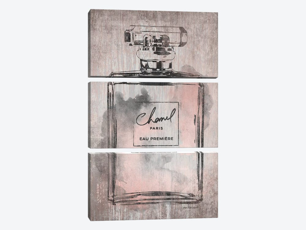 Perfume Bottle, Pink Grey Metallic Rose Gold by Amanda Greenwood 3-piece Canvas Art Print