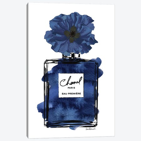 Perfume With Black & Blue Flower Canvas Print #GRE184} by Amanda Greenwood Canvas Art Print