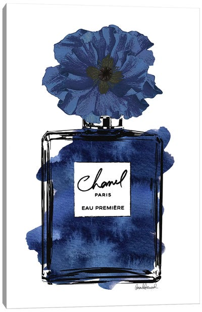 Perfume With Black & Blue Flower Canvas Art Print