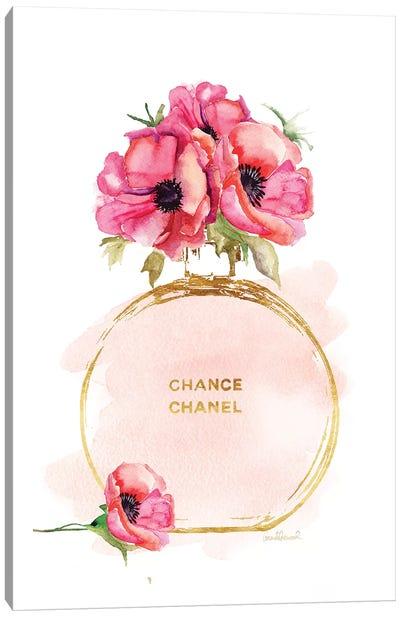 Round Perfume Bottle & Poppies Canvas Art Print