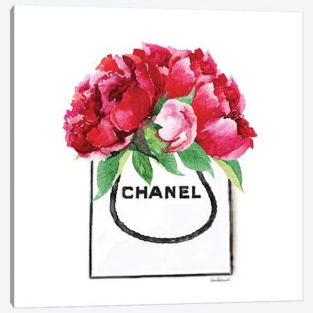 Fashion Shopping Bag With Deep Pink Peonies Canvas Print #GRE18} by Amanda Greenwood Canvas Art Print