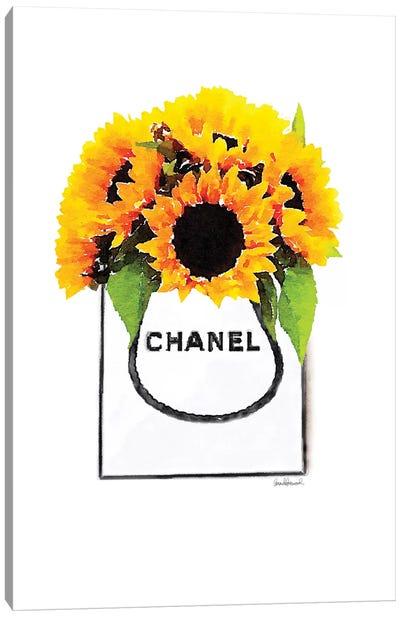 Shopper With Sunflowers Canvas Art Print
