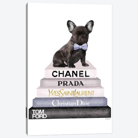 Bookstack & Black Frenchie Canvas Print #GRE198} by Amanda Greenwood Canvas Print
